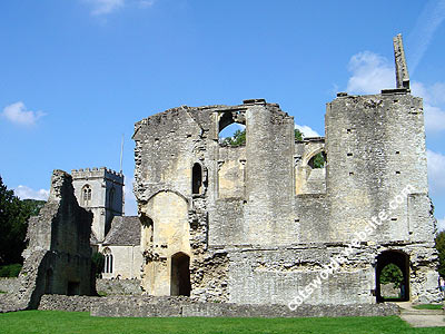 The remains of Minster Lovell Hall. You can also see St. Kenelm's Church in the background