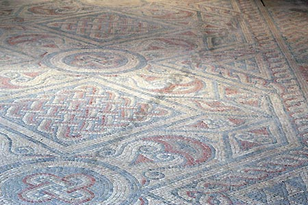 A mosaic at North Leigh Roman Villa (This mosaic is under cover)
